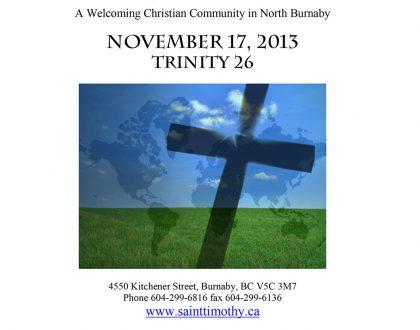 Bulletin: November 17, 2013