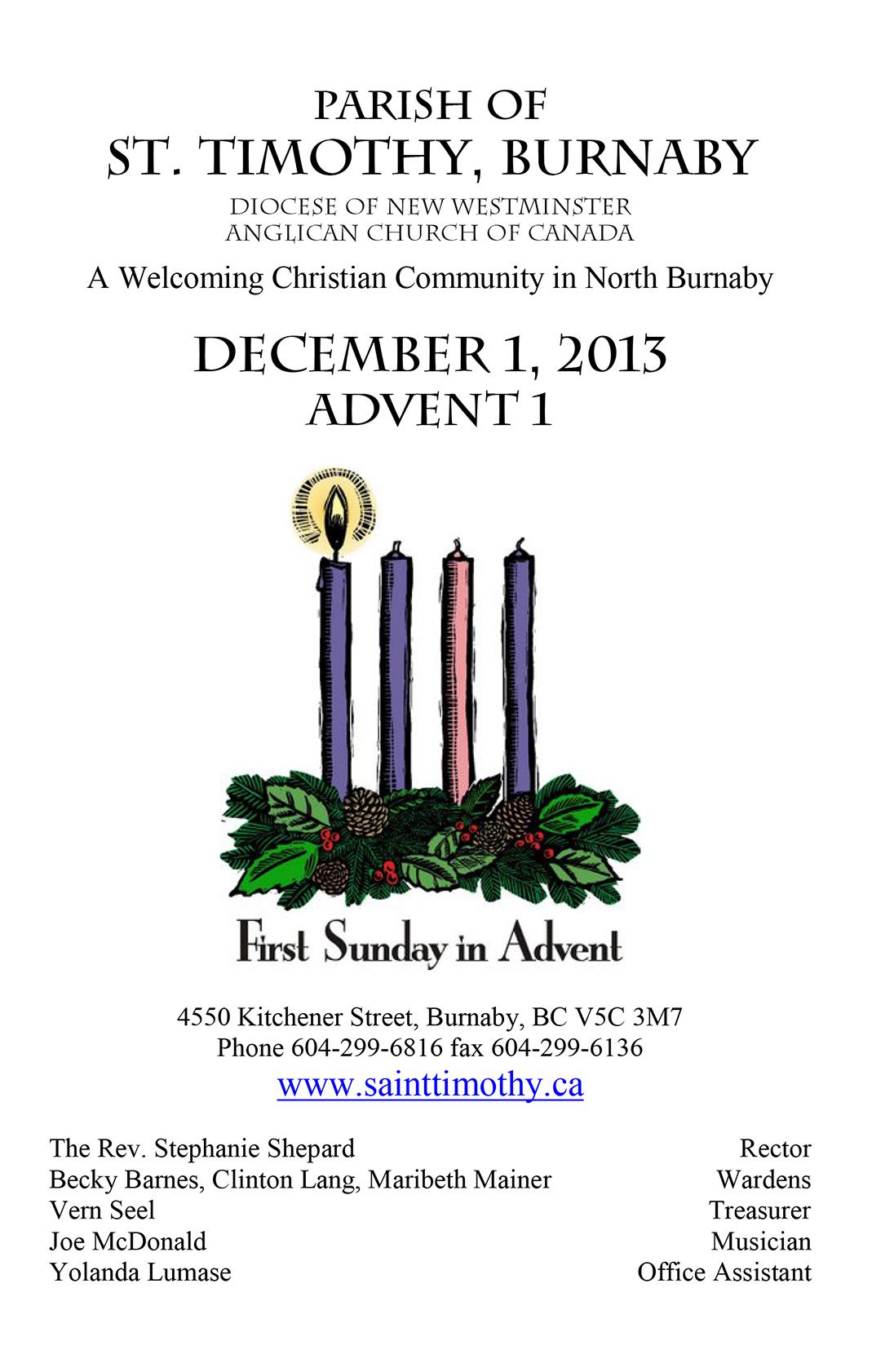 Bulletin: December 1, 2013