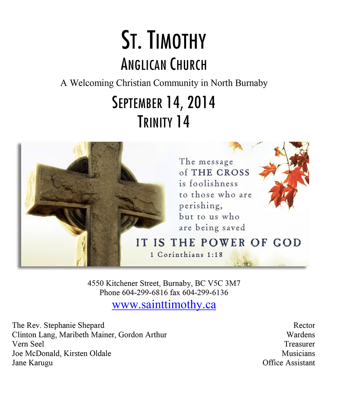Bulletin: September 14, 2014