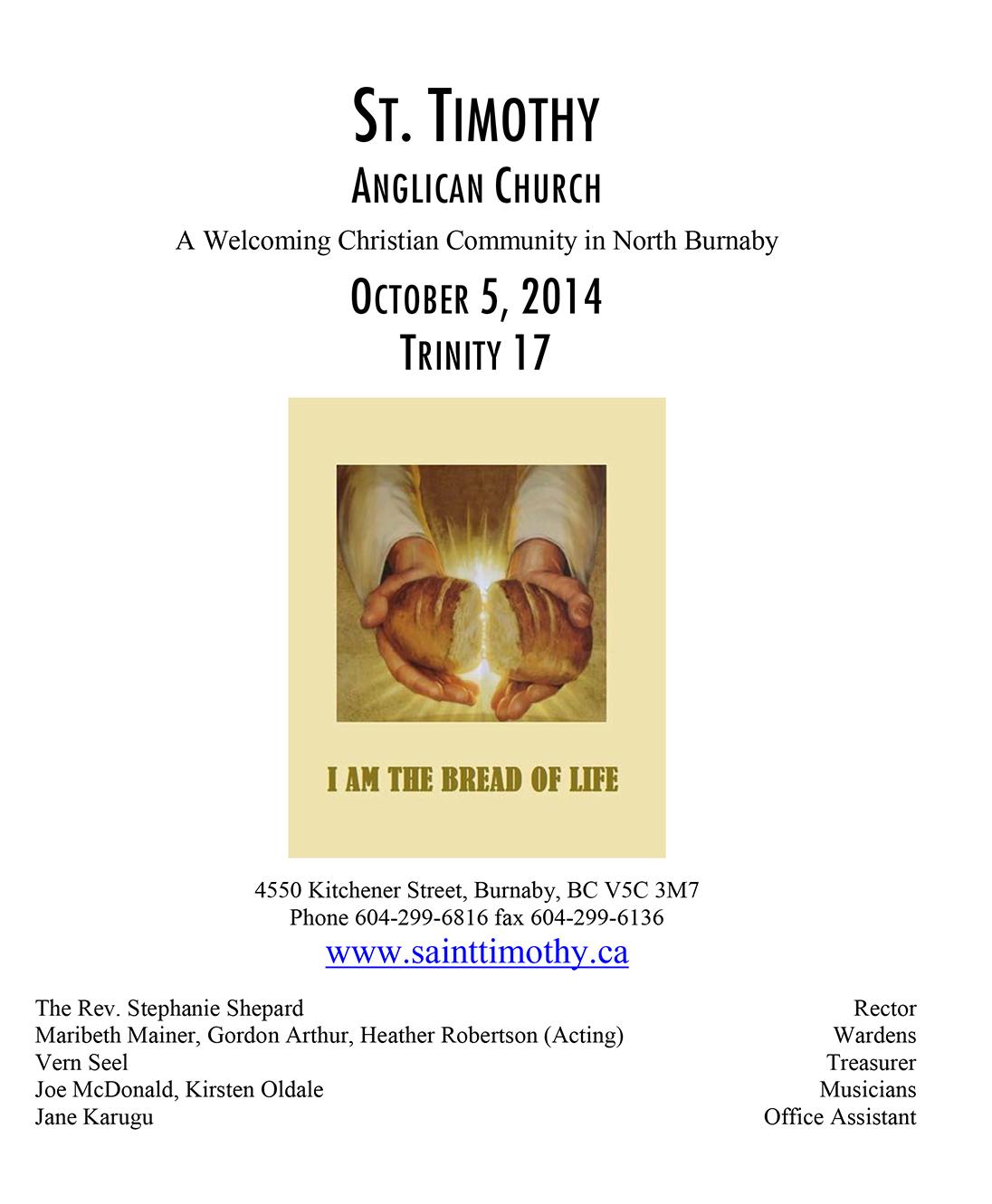 Bulletin: October 5, 2014