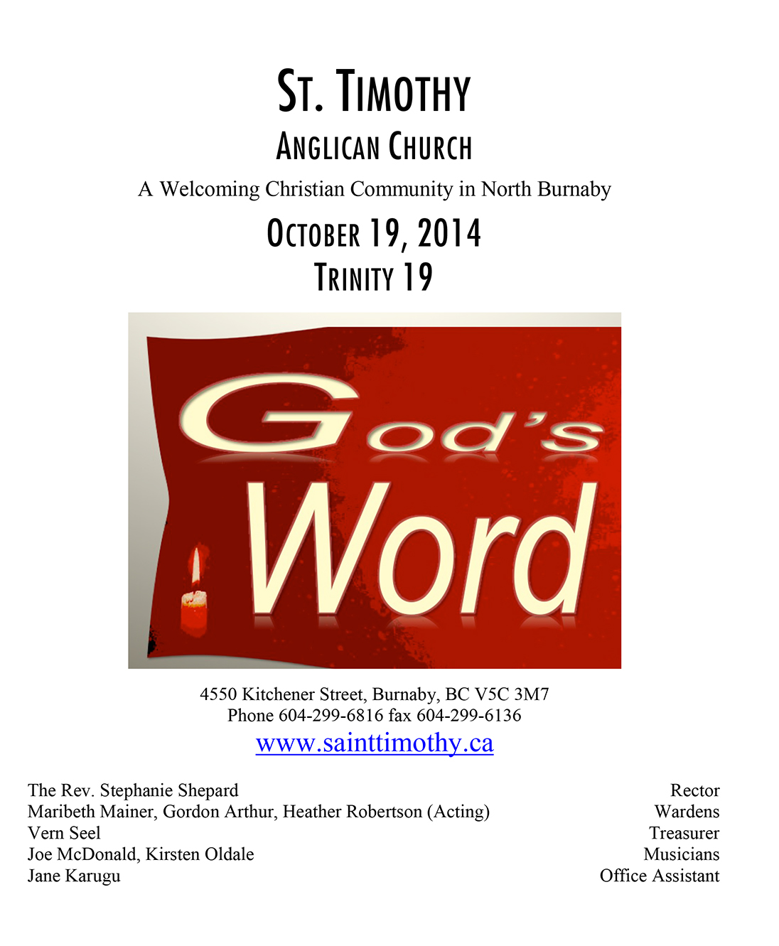 Bulletin: October 19, 2014