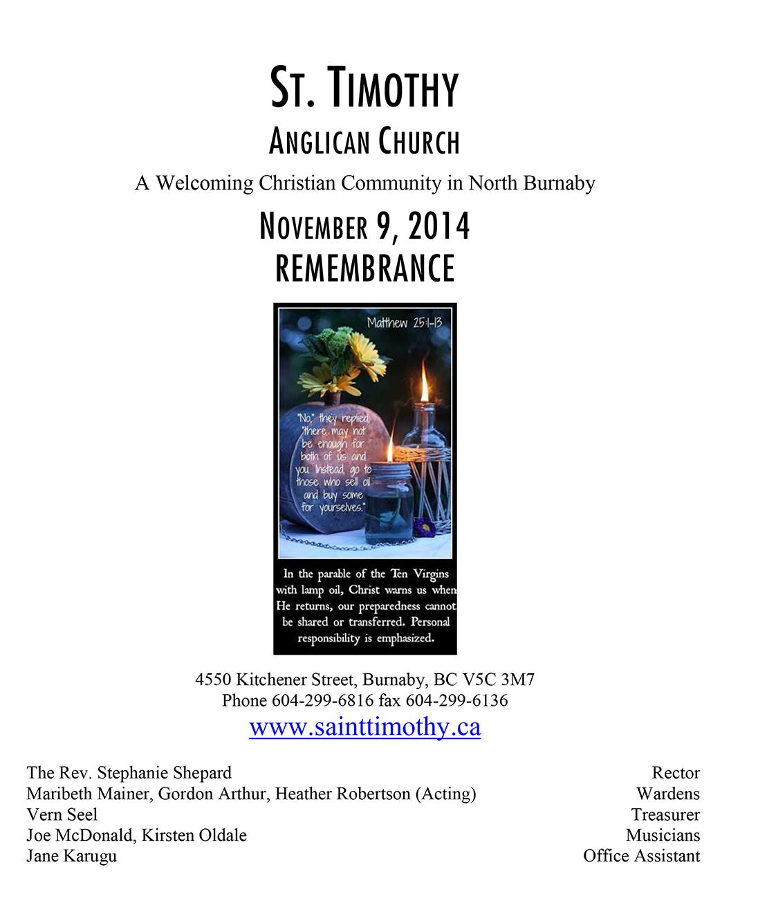 Bulletin: November 9, 2014