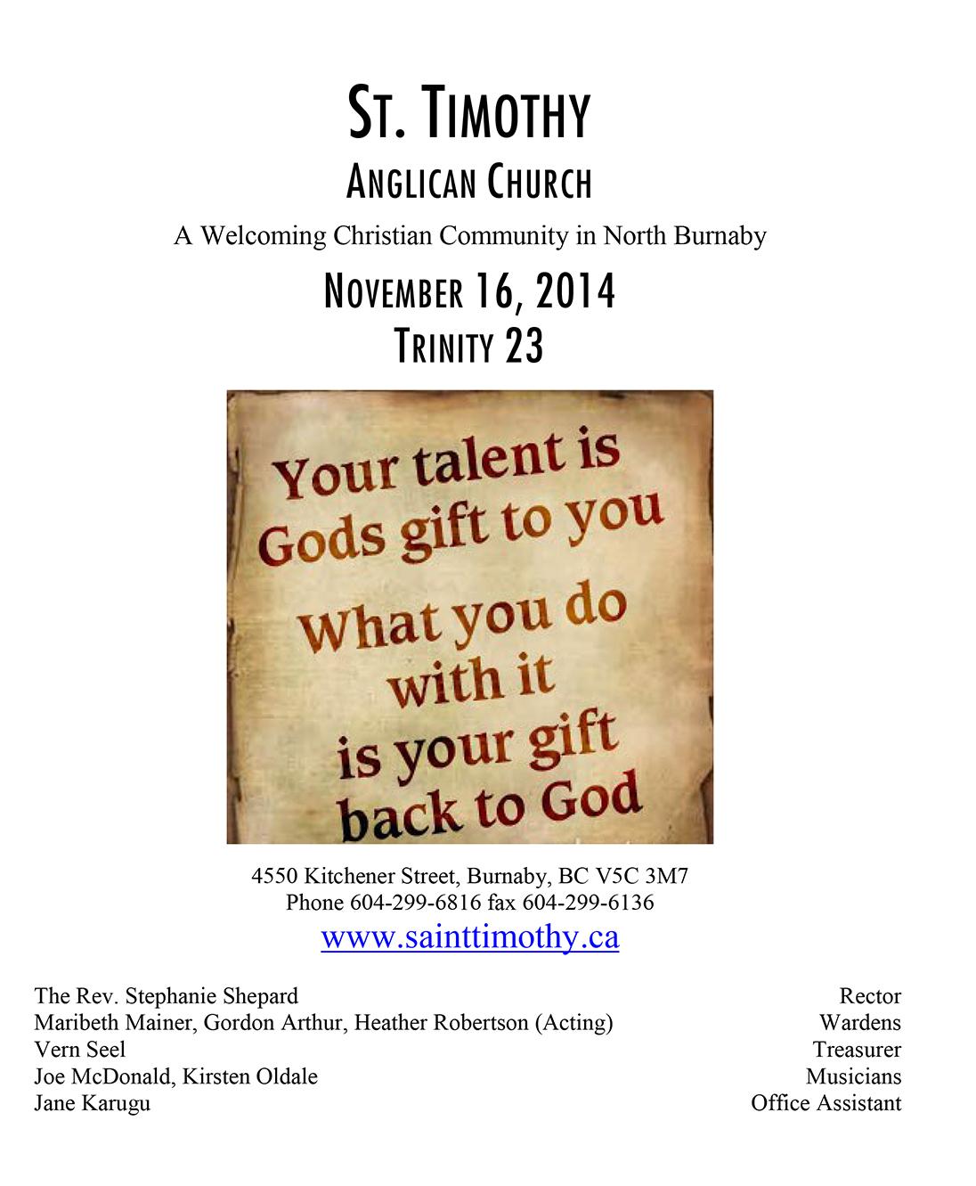 Bulletin: November 16, 2014