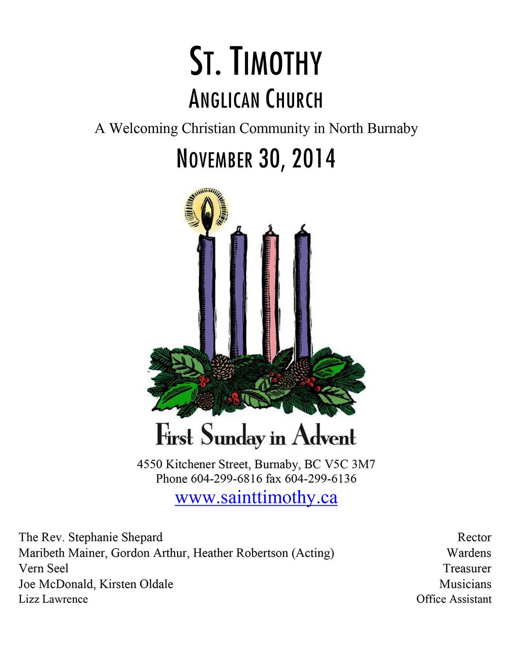 Bulletin: November 30, 2014