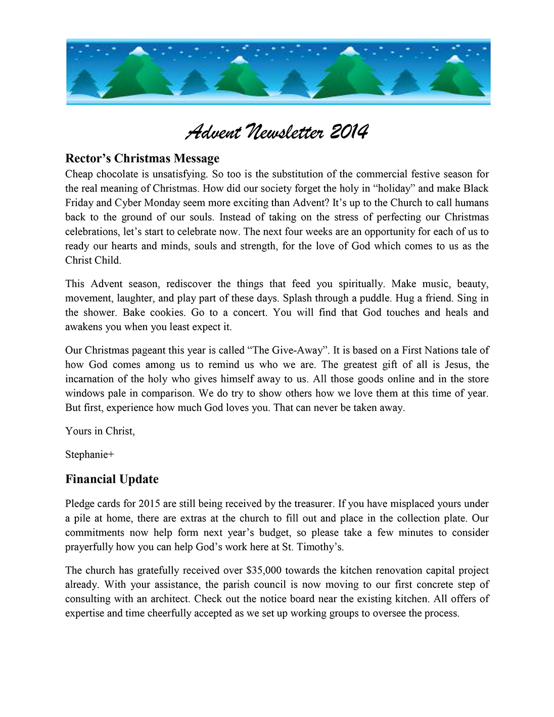 Newsletter: Advent 2014