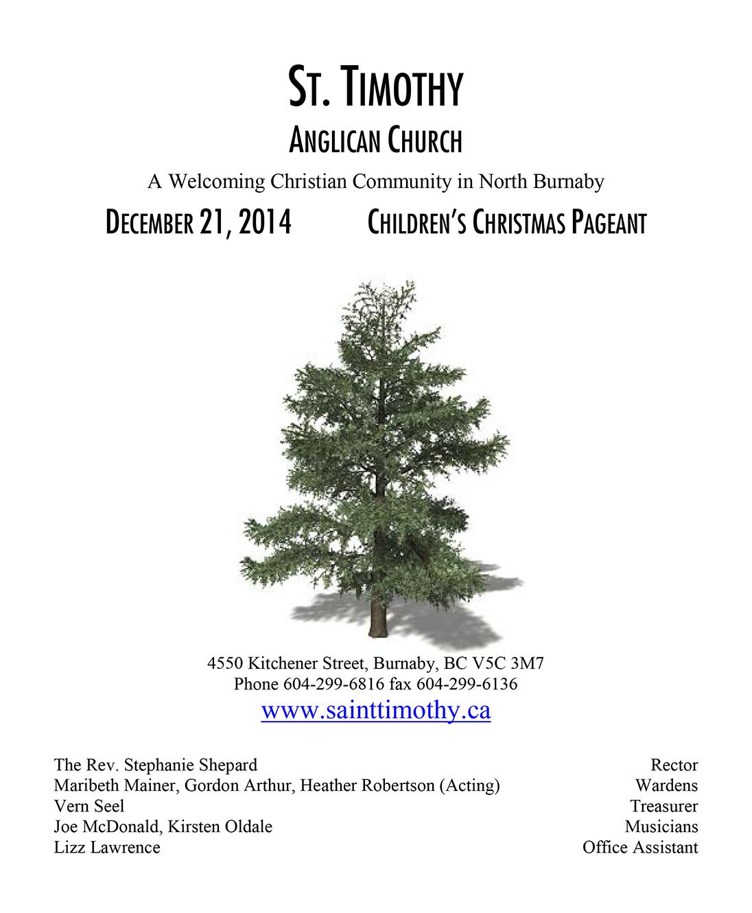 Bulletin: December 21, 2014