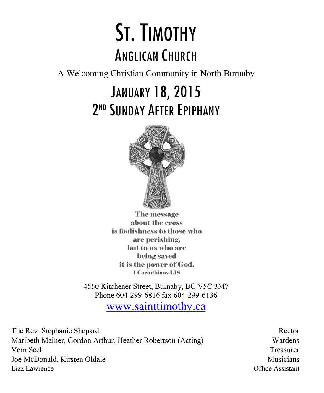Bulletin: January 18, 2015