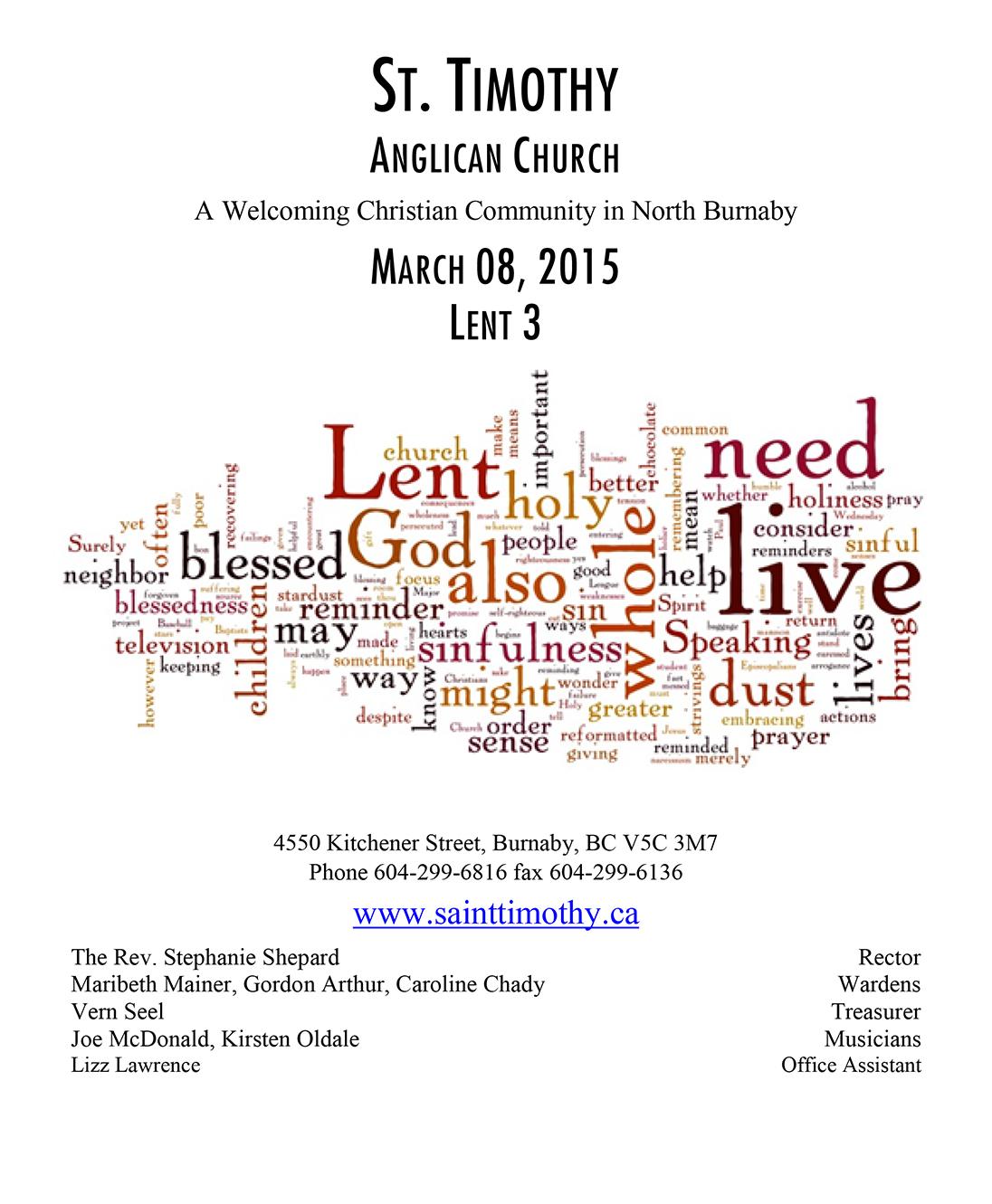 Bulletin: March 8, 2015