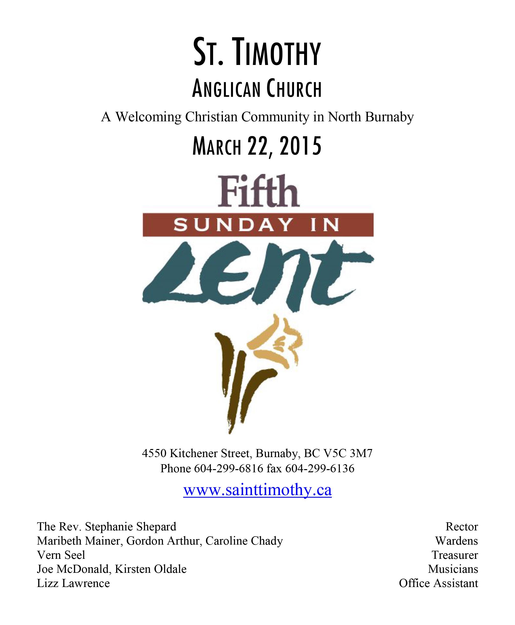 Bulletin: March 22, 2015
