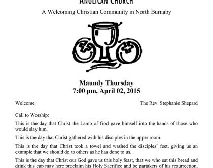 Bulletin: April 2, 2015 (Maundy Thursday)