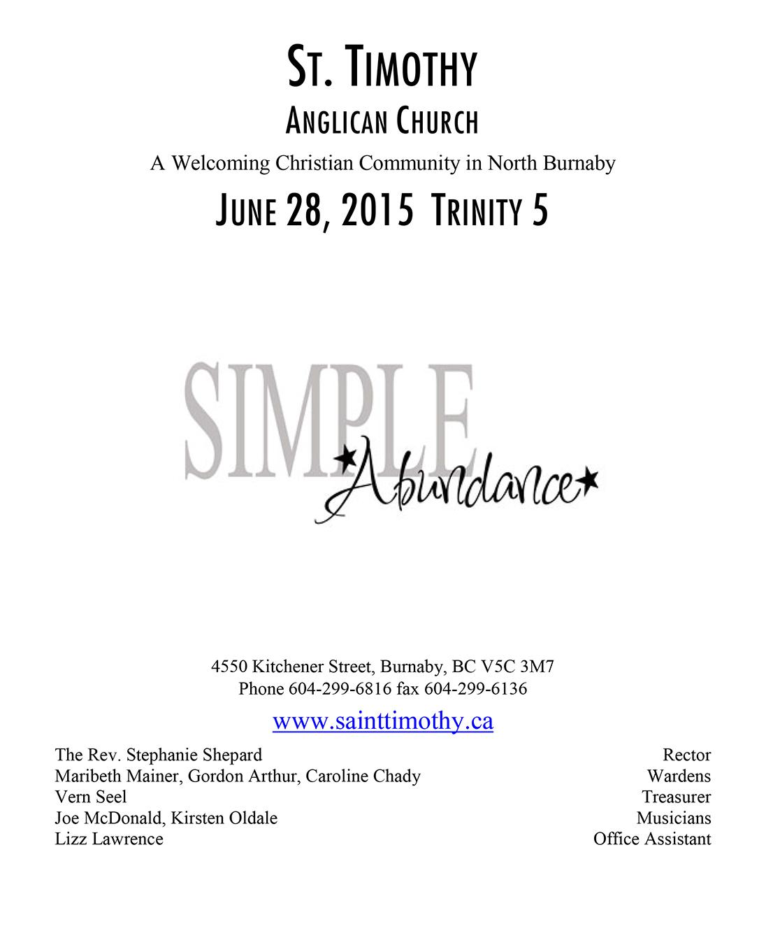 Bulletin: June 28, 2015