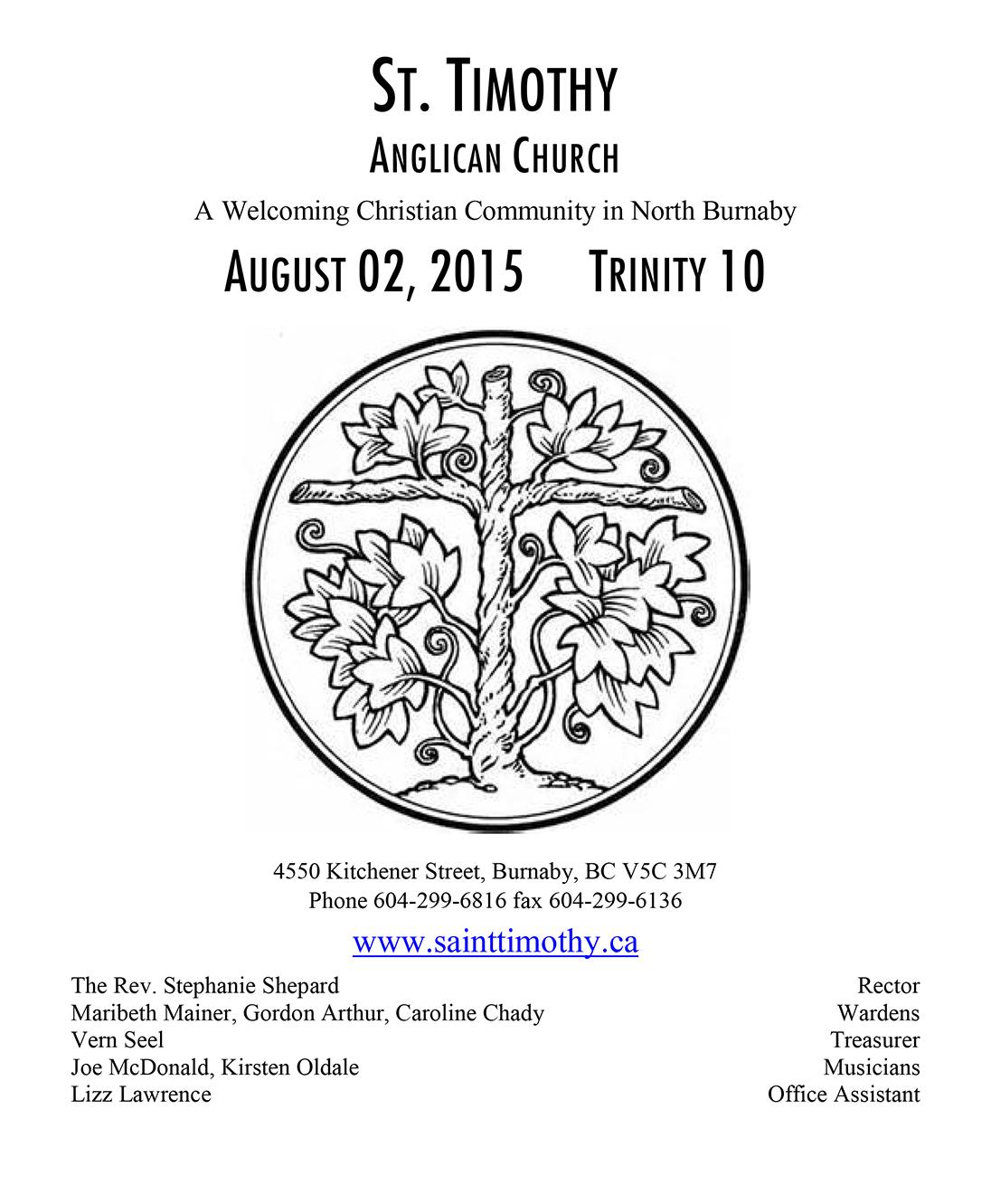 Bulletin: August 2, 2015