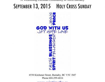 Bulletin: September 13, 2015