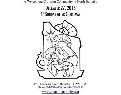 Bulletin: December 27, 2015
