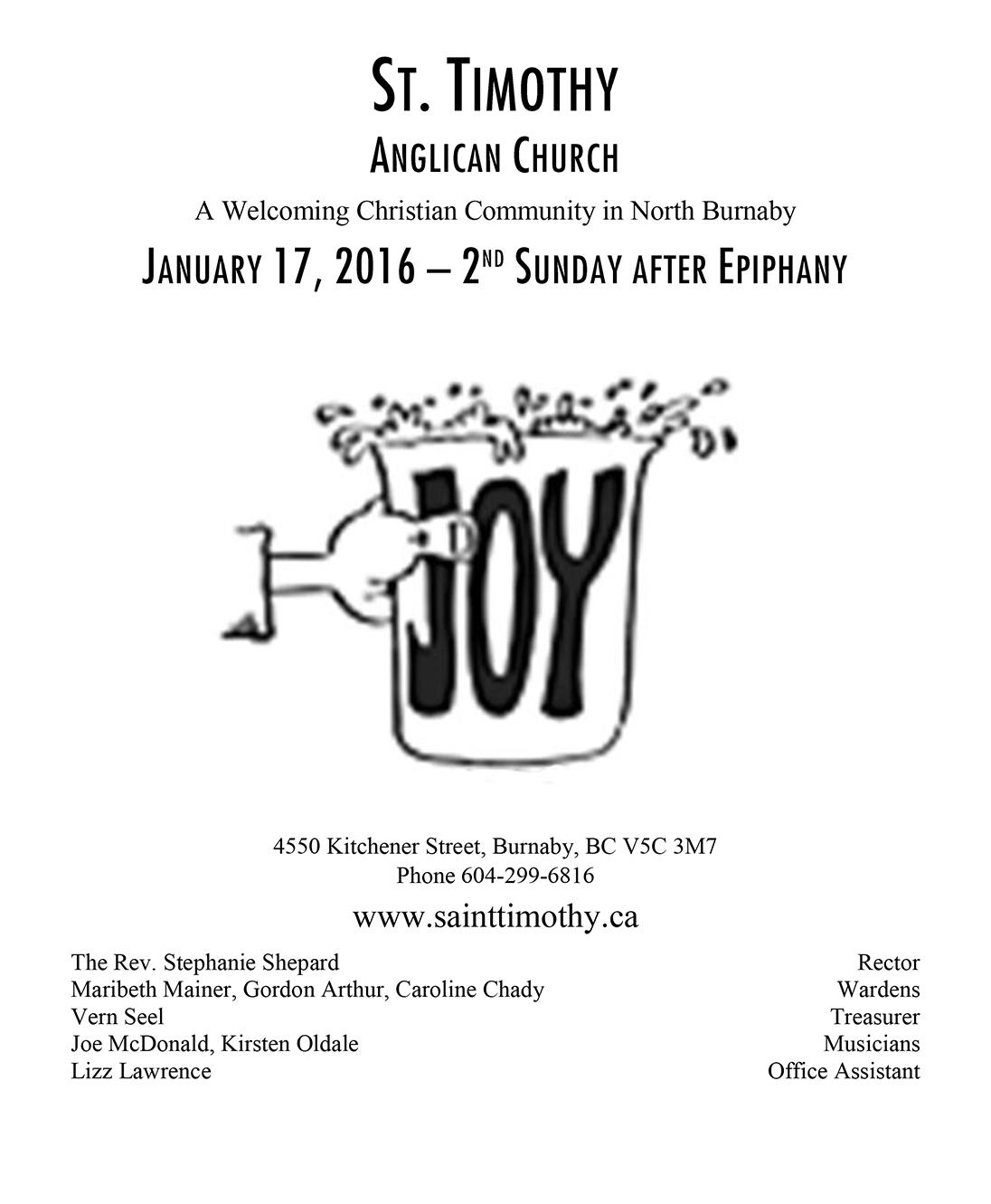 Bulletin: January 17, 2016
