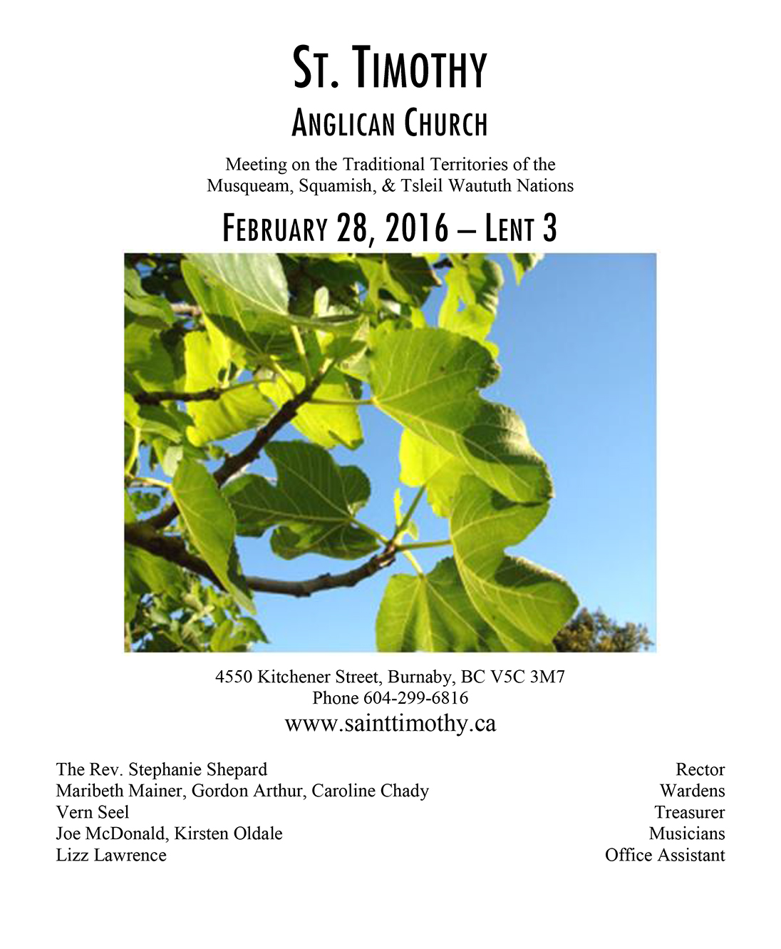 Bulletin: February 28, 2016