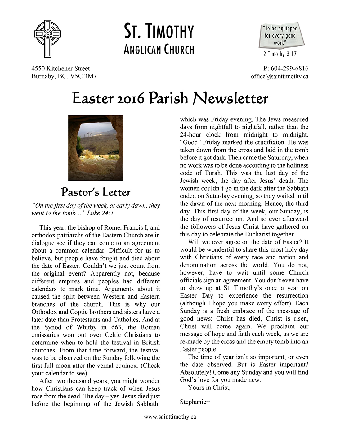 Newsletter: Easter 2016