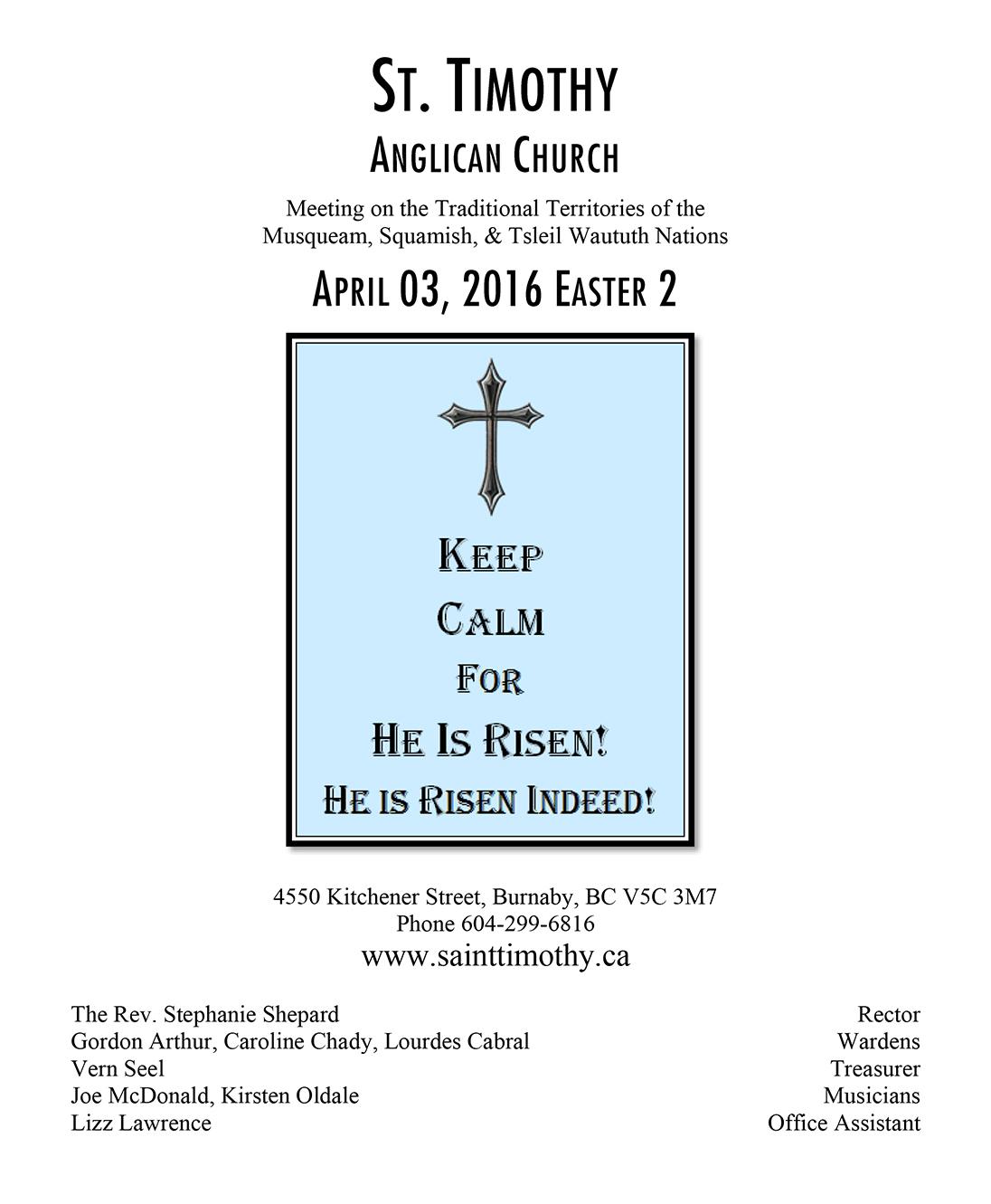 Bulletin: April 3, 2016