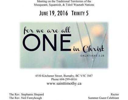 Bulletin: June 19, 2016
