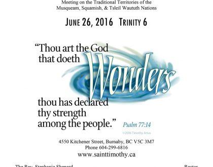 Bulletin: June 26, 2016