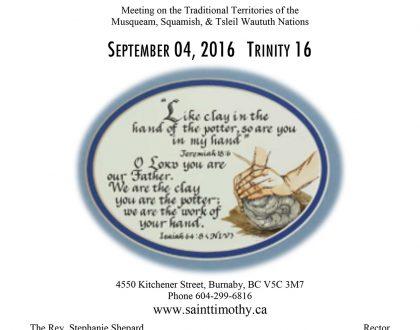 Bulletin: September 4, 2016