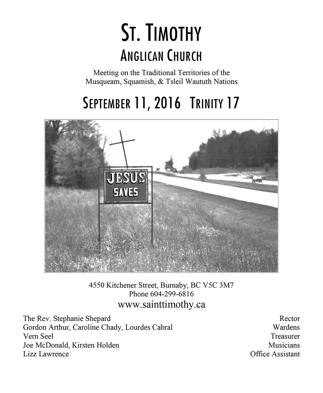 Bulletin: September 11, 2016