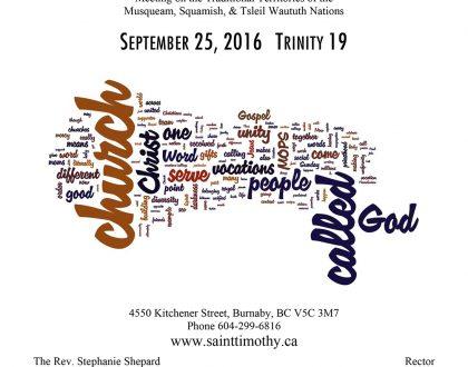 Bulletin: September 25, 2016