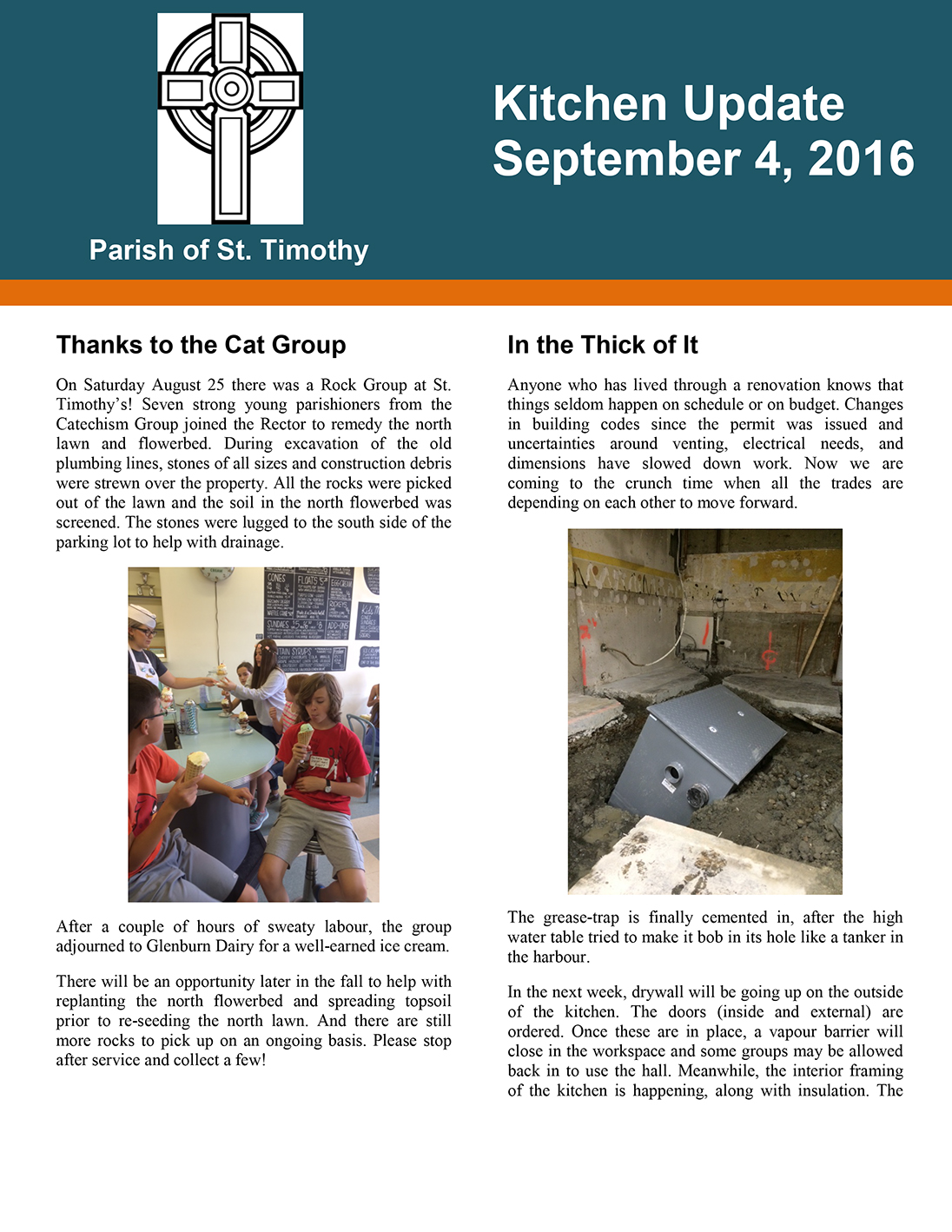 Newsletter: Kitchen Update - September 4