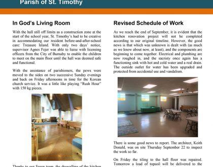 Newsletter: Kitchen Update - September 25
