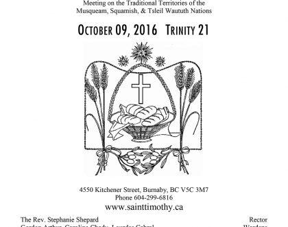 Bulletin: October 9, 2016