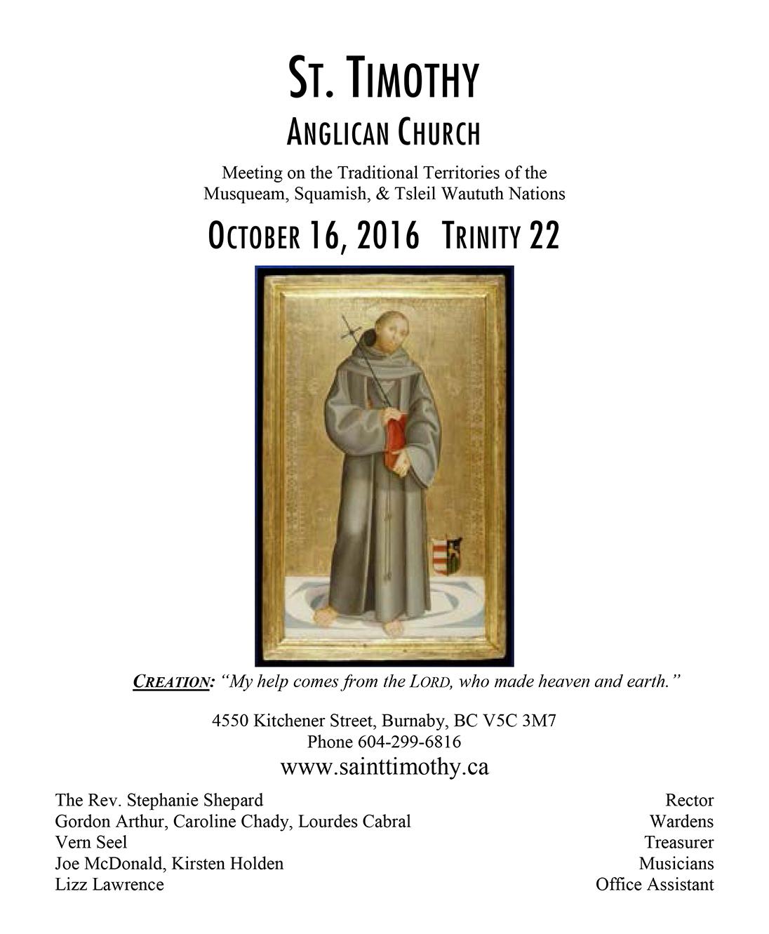 Bulletin: October 16, 2016