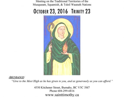 Bulletin: October 23, 2016
