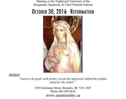 Bulletin: October 30, 2016