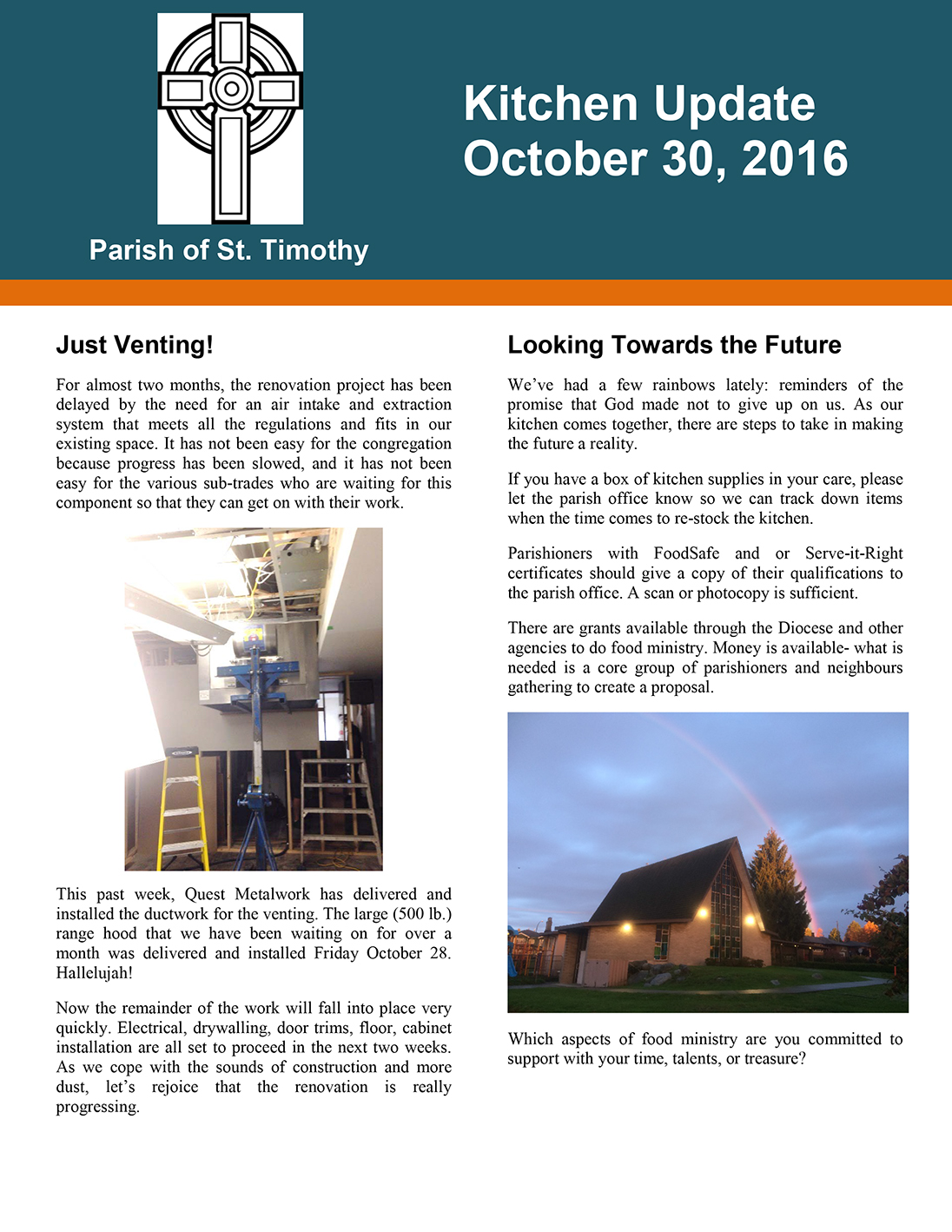 Newsletter: Kitchen Update - October 30