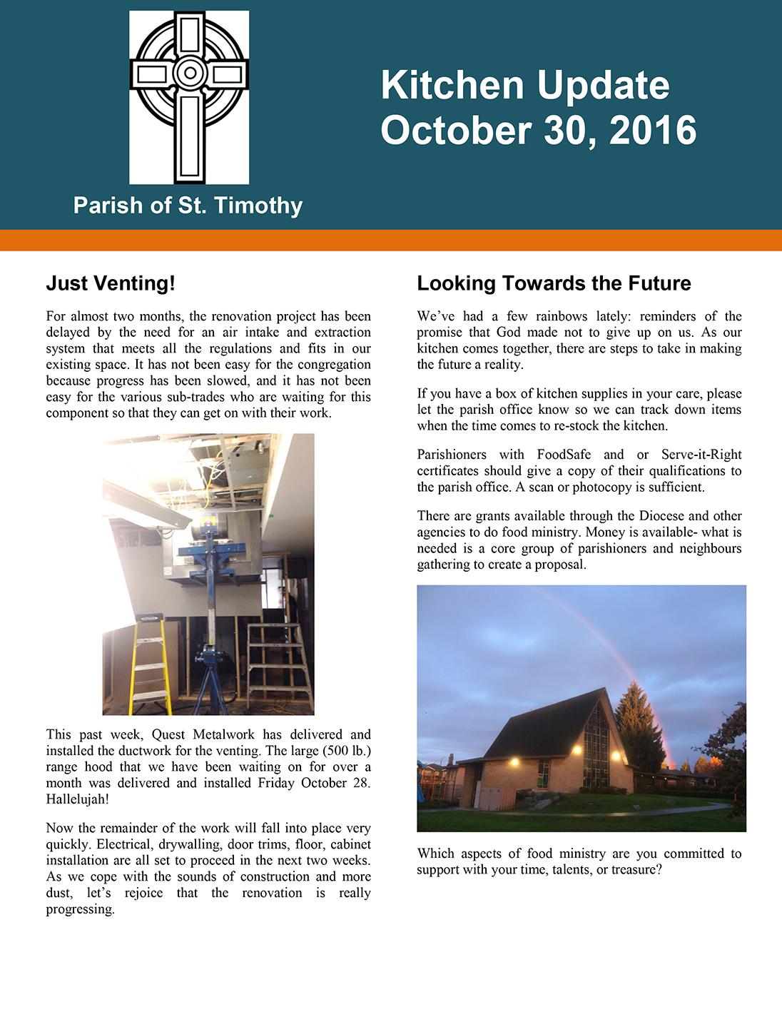 Newsletter: Kitchen Update - October 30