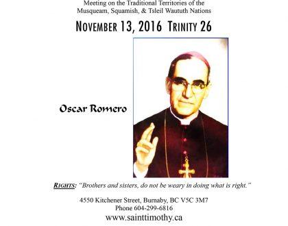 Bulletin: November 13, 2016