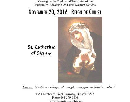 Bulletin: November 20, 2016