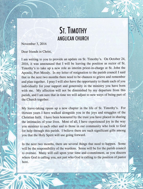 Newsletter: Rector's Resignation Letter - November 3