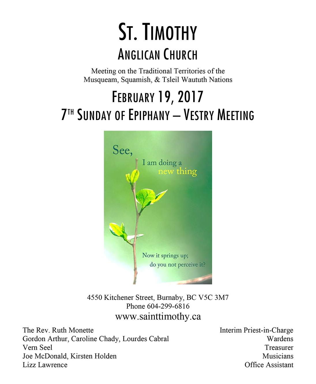Bulletin: February 19, 2017