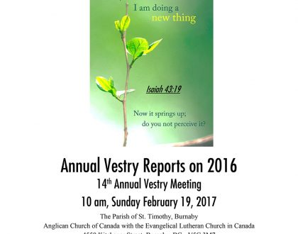 Vestry Reports for 2016