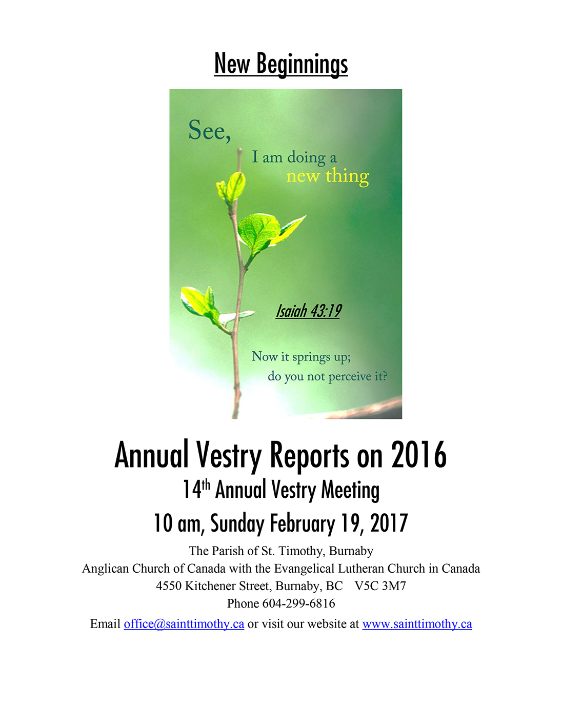 Vestry Reports on 2016