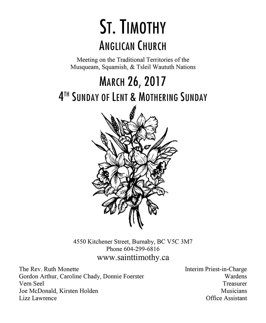Bulletin: March 26, 2017