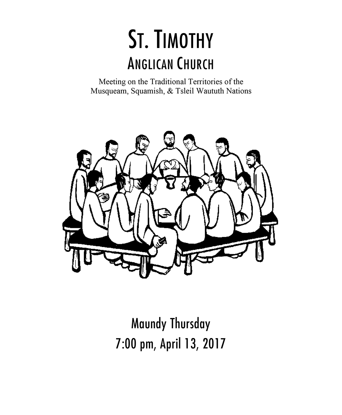 Bulletin: April 13, 2017 (Maundy Thursday)