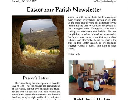 Newsletter: Easter 2017
