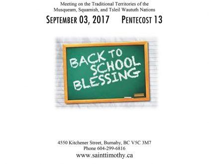 Bulletin: September 3, 2017