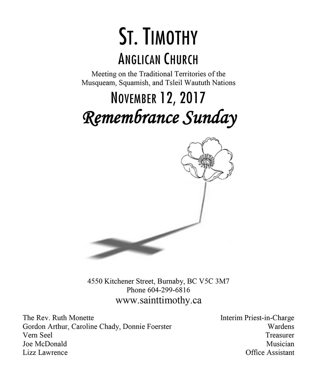 Bulletin: November 12, 2017