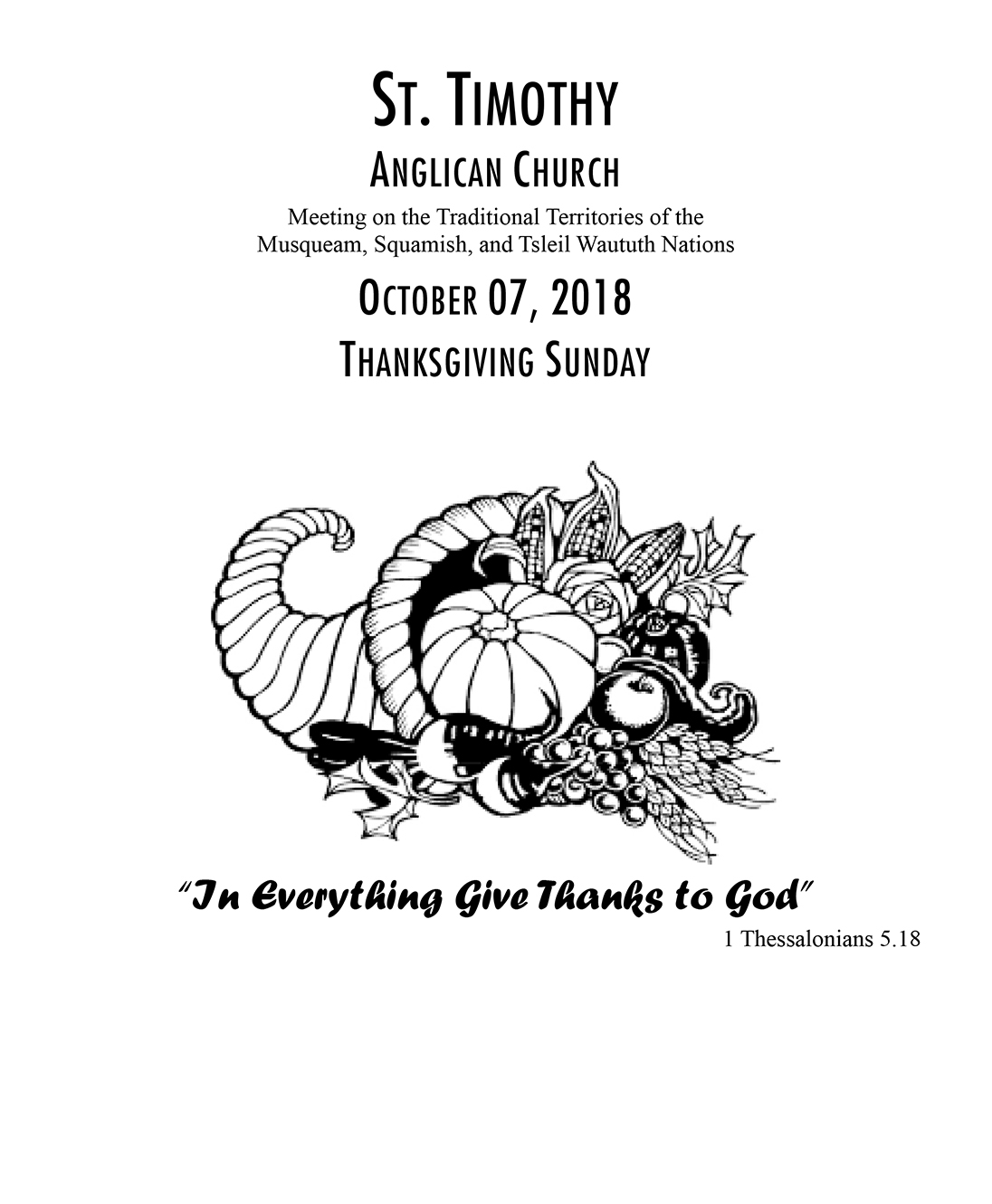 Bulletin: October 7, 2018