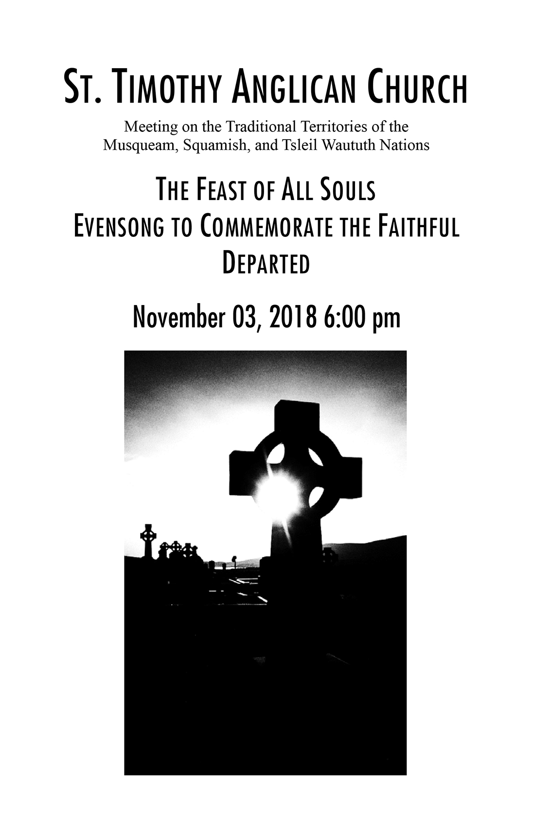 Bulletin: November 3, 2018 (All Souls Evensong)