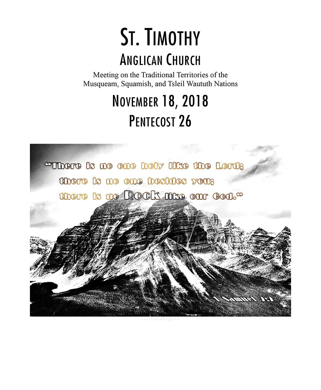 Bulletin: November 18, 2018