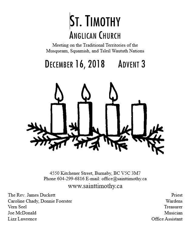 Bulletin: December 16, 2018